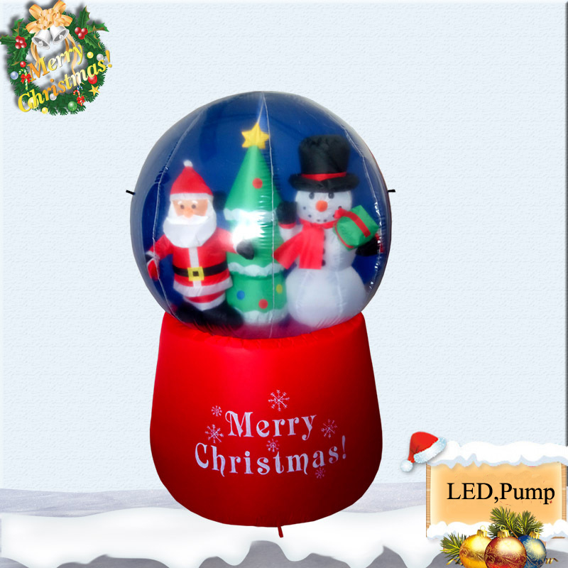 150cm 5Foot Giant Santa Claus Christmas Tree Snow Globe Inflatable LED Toys Yard Outdoor Blow Up Decoration Christmas Party Prop 2 4m air inflatable santa claus outdoor airblown christmas decoration figure kids classic toys with integrated fan