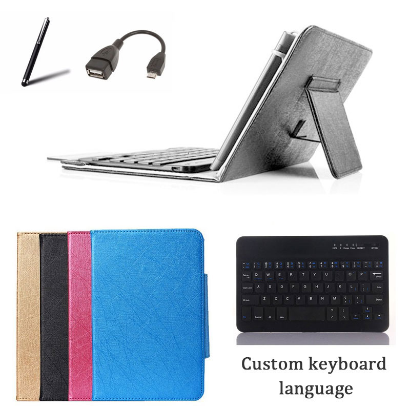 Wireless Keyboard Cover Stand Case for <font><b>Digma</b></font> <font><b>Optima</b></font> 7018N 4G/<font><b>7017N</b></font> 3G 7 inch Tablet Bluetooth Keyboard + Stylus + OTG Cable image