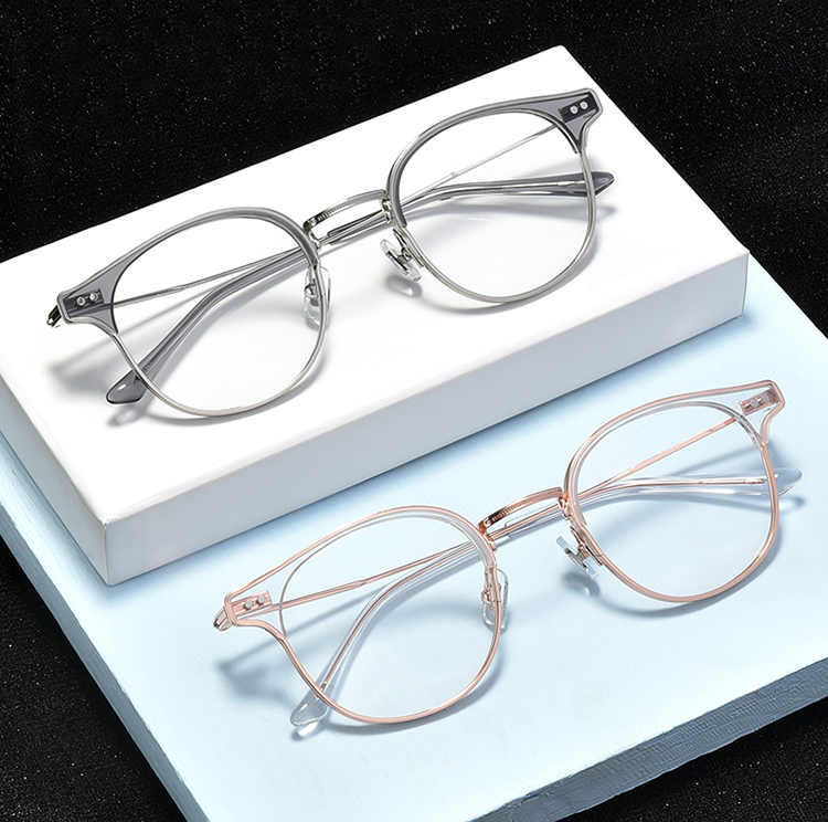 Round retro metal and Acetate frame optical eyeglasses frame clear lens glasses frame women men myopia spectacles prescription in Men 39 s Eyewear Frames from Apparel Accessories