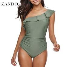 Zando 2019 Solid Sexy One Piece Swimsuit Women Swimwear Shoulder Ruffle Mesh Bodysuits Beach Swim Suit Bathing