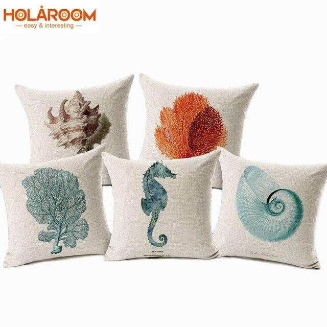 1117af464e6 Mar Cojines casa coche almohadas decorativas Shell Cojines s funda cojines  onda coussin decoración Conch Hippocampus