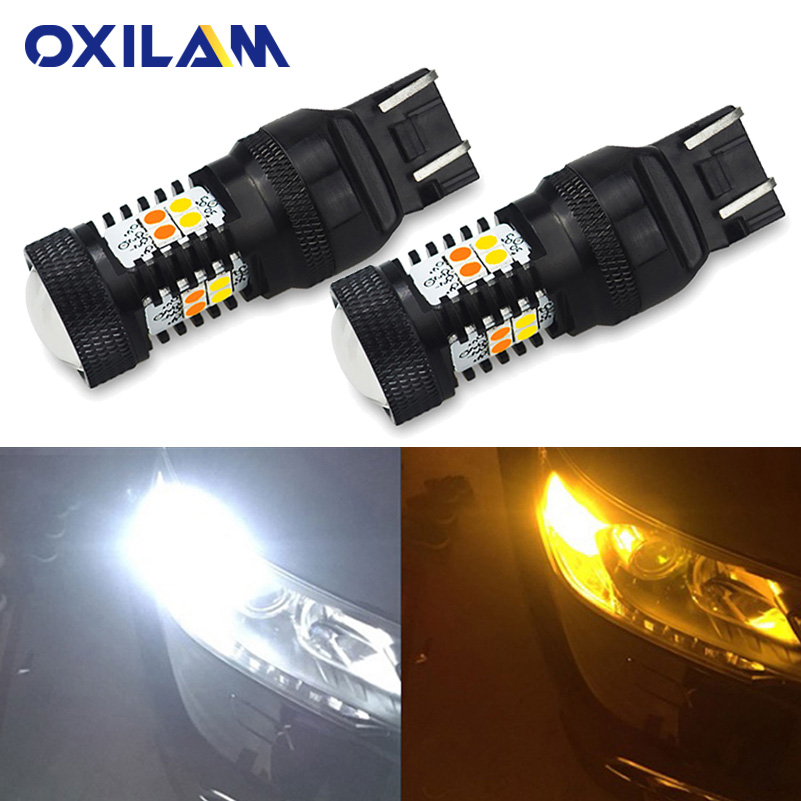 Dual Color 7443 16-SMD 3030 LED Switchback Turn Signal Light Bulbs 7444NA 992 US