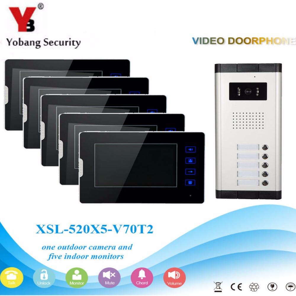 YobangSecurity 5 Units Apartment Video Intercom 7 Inch Monitor Wired Video Doorbell Door Phone Speakphone Intercom System Kit apartment intercom system 7 inch monitor 6 units apartment video door phone intercom system video intercom doorbell kit