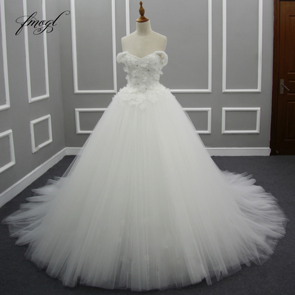 Backless Wedding Dresses 2019: Fmogl Sexy Backless Strapless A Line Lace Wedding Dresses