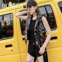 BONJEAN 2019 Autumn Outerwear Rivet Decoration Coats and Jackets Women's Slim PU Leather Jacket Sleeveless Print Coat BJ1374
