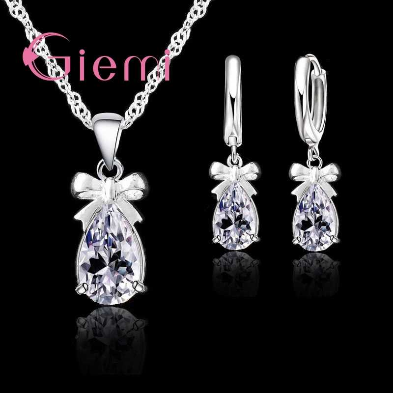 Stylish Bowknot 925 Sterling Silver With White Stone Cubic Zirconia Dangle Earring Pendant Necklace Woman Jewelry Set