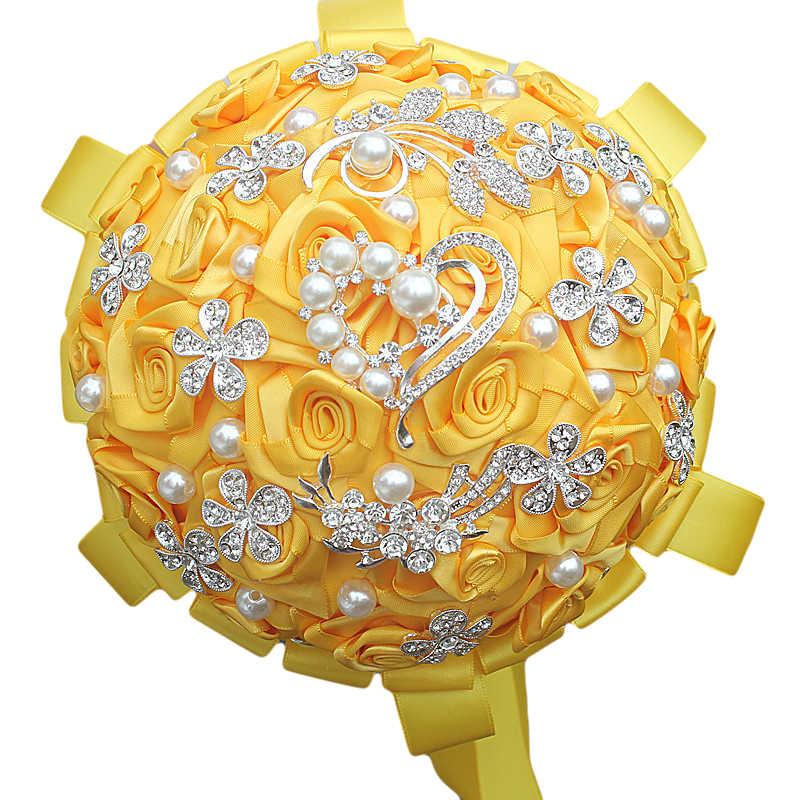Wifelai-Pabrik dan Toko Emas Kuning Karangan Bunga Pernikahan Berlian Bros Bride Bunga De Noiva Di Saham Kualitas Terbaik W125