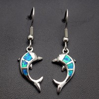 HERMOSA Jewelry Exquisite Beautiful Blue Opal High Dolphin Modeling 925 Sterling Silver Fashion Lovely Earrings E1021