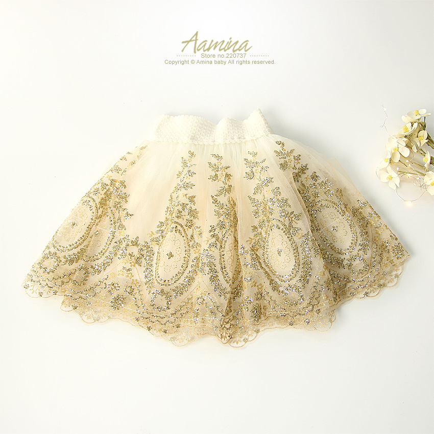 3117 Hot Fix Sequined Golden Embroidery Baby Girls Tutu Skirt Pettiskirt for kids summer Tulle Dance