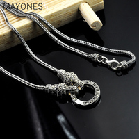 MAYONES 1.5mm Real 925 Sterling Silver Chain Long Sweater Necklace For WWomen Vintage Thai Silver Fox Tail Necklaces & Pendants