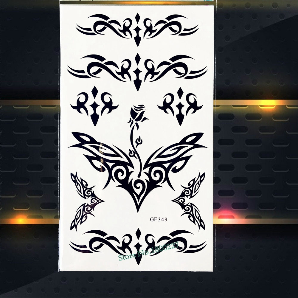 Waterproof Temporary Tattoo Stickers Fake Flash Body Art Arm Tattoo Paste PGF349 Henna Lace Black Tattoo Women Adhesive Sticker