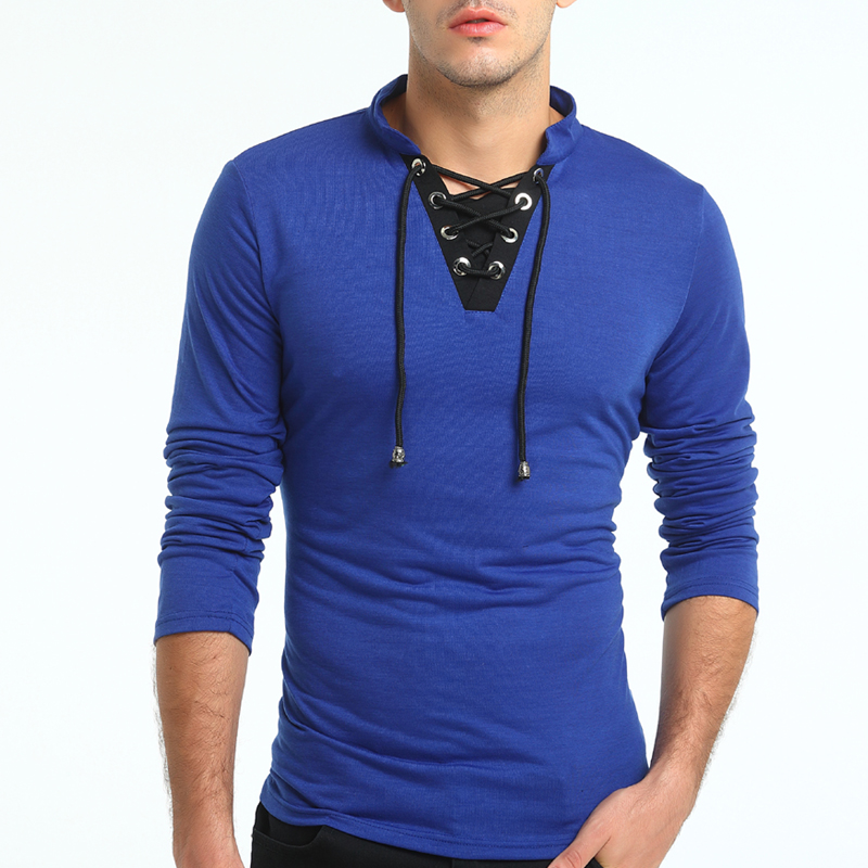 Male 2018 Brand Long Sleeve Tie Hit Color T Shirt Turtleneck Slim Men T-Shirt Tops Fashion Mens Tee Shirt T Shirts XXXL RTYH