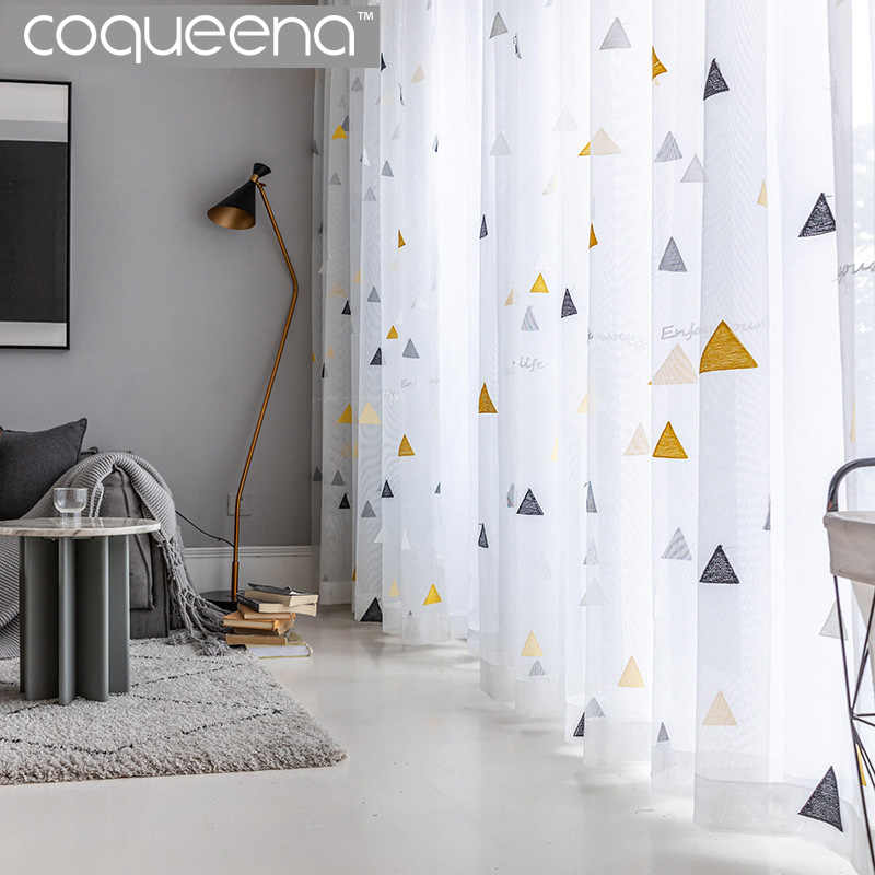 2019 New Embroidered White Sheer Curtains for Living Room Bedroom Kitchen Window Treatments Sheer Voile Tulle Curtain White