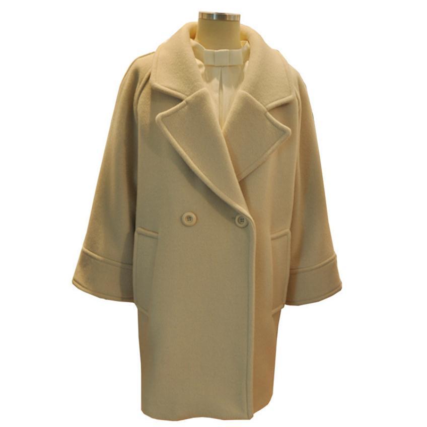 New Casual 2017 Spring Winter Woolen Pink coat Women Single button Simple Jacket Overcoat casaco feminino Female Cloth wj1178