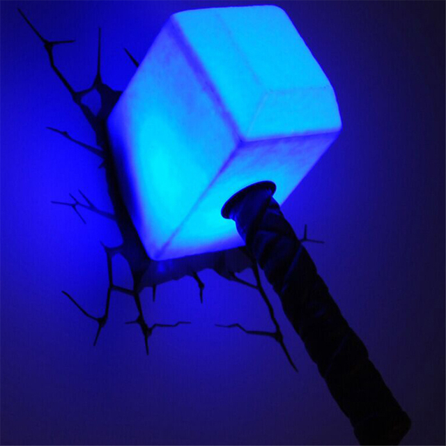 Avengers Alliance Thor Hammer Shape 3D Movie Anime Figure Night Light  Creative LED Wall Lamp Childrenu0027s
