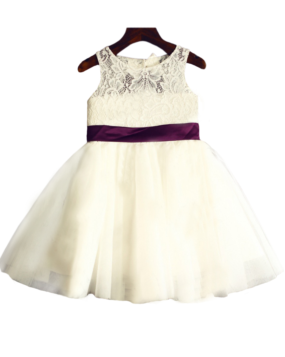 ФОТО Key Hole White Ivory Organza Lace Neckline Flower Girl Dress Infant Toddler Pageant  Bridal Party Dress With Red Wine Bow Sash