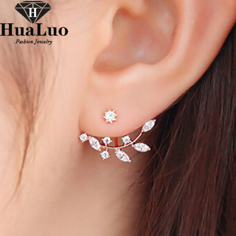 Korean Style Earrings 2016 New Zircon Crystal Leaves Shape Stud ...