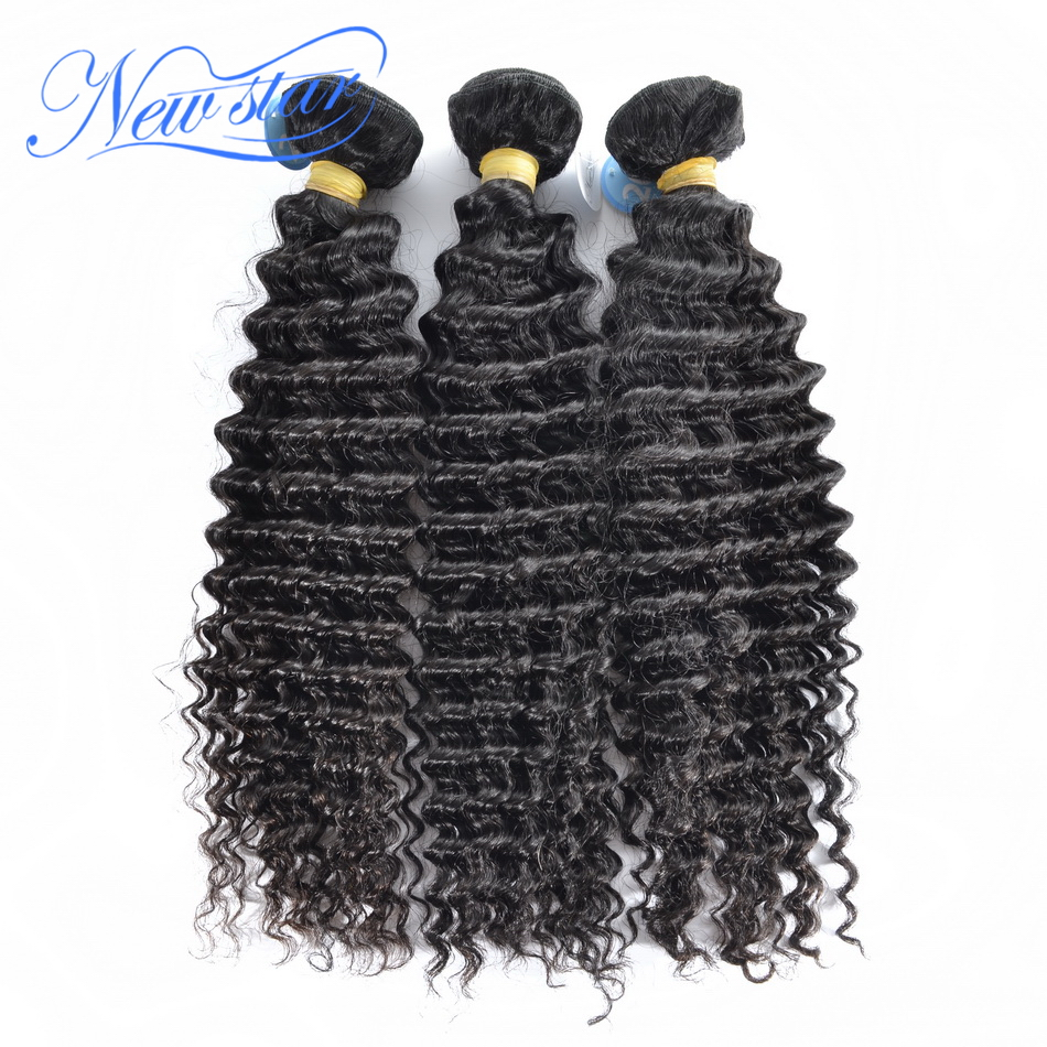hot sale new star hair Brazilian deep curl virgin hair extensions 3 pieces/lot one donor unprocessed high quality human hair