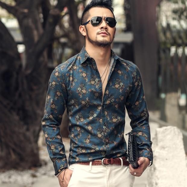 2016 outono nova flor moda impresso camisas de manga longa homens camisa masculino magro camisas de flores vintage camisa de linho homens casuais
