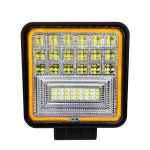 Image 2 - 126 Вт Cob светодиодный рабочий свет 12 В прожектор квадратный двойной цвет белый 6000 К золотой 3000 К водонепроницаемый для внедорожников ATV Грузовик Мотоцикл