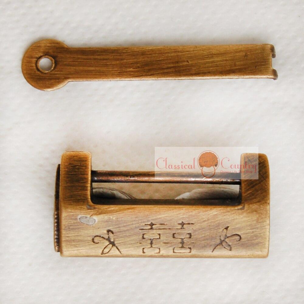 35cm Antique Brass Padlock Lock key Chinese Furniture Hardware