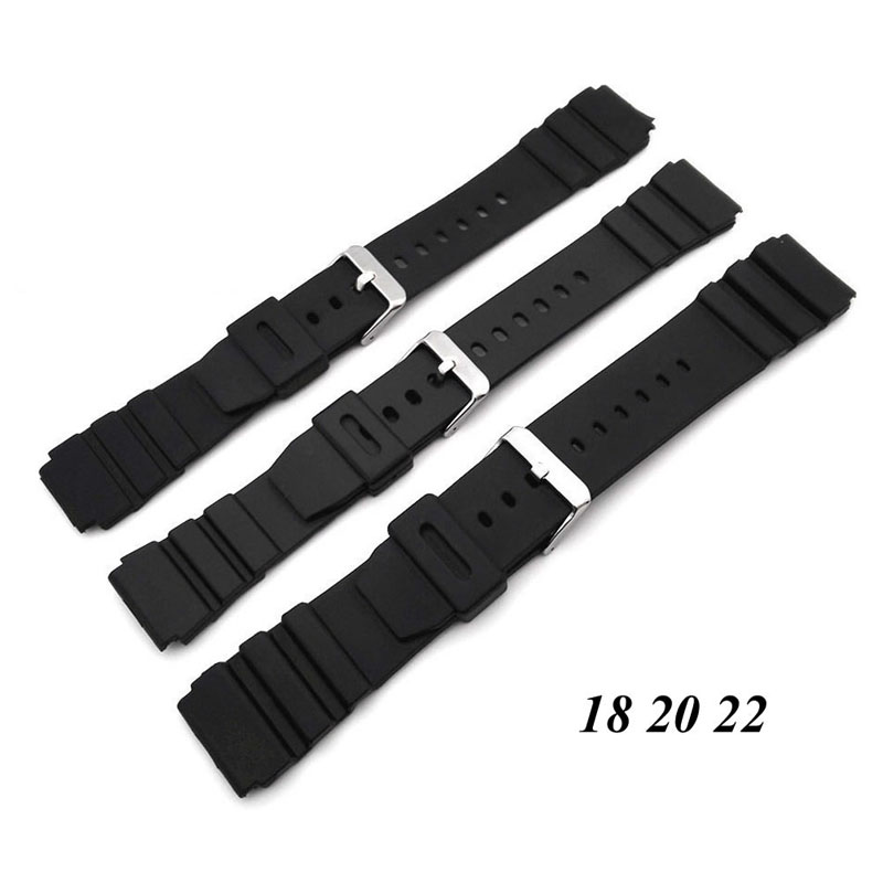 Silicone Rubber Watch Strap Band Deployment Buckle Diver Waterproof 18mm - 22mm