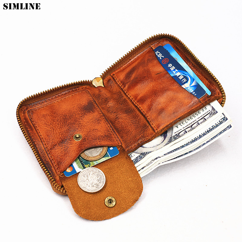 2019 Genuine Leather Wallet For Women Men Vintage Handmade Short Small Bifold Zipper Wallets Purse Female Male With Coin Pocket