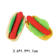 6 Stks Mini Rubber Voedsel Hot Hond Gummen Rubber Gum Set Kids Geschenken Briefpapier School Office(China)