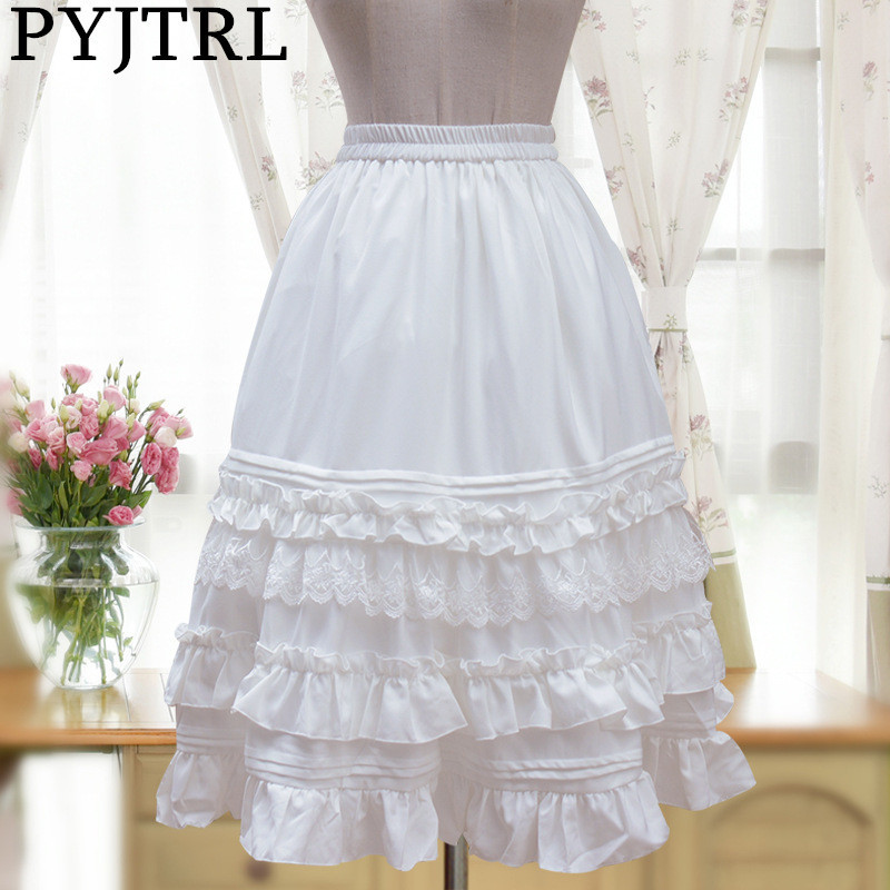 PYJTRL 2017 Spring Autumn Elegant Womens Retro Vintage Cambric Chiffon Lace Lotus Leaf Princess Lolita Skirts
