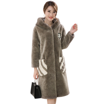 New Medium Long Women Winter Faux Fur Jackets Woman Warm Artifical Fur Coats Female Ladies With Hood Big Size