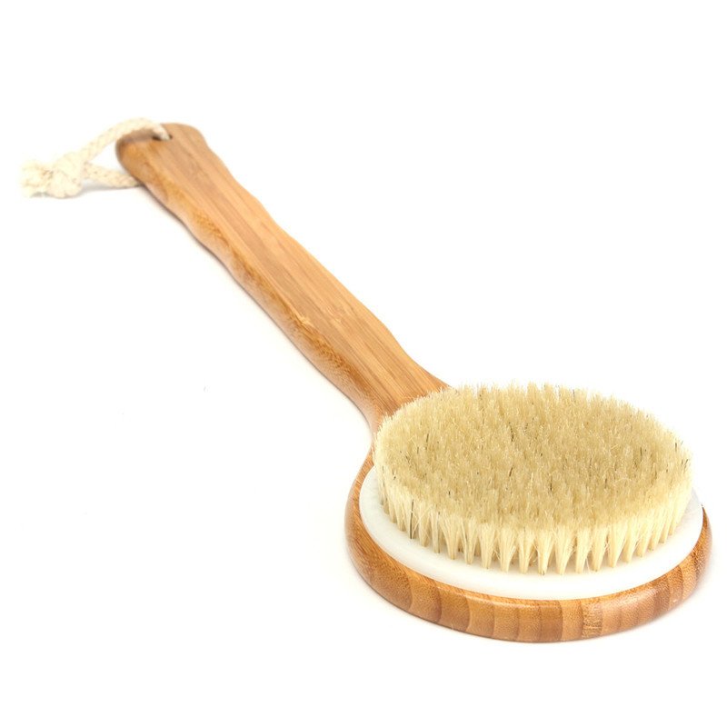 Bristle Long Handle Wooden Bath Shower Body Back Brush Spa