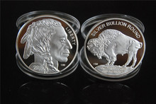 Free shipping lndian Head - Liberty siver plated metal coin+1 oz 999 fine silver American BUFFALO coin
