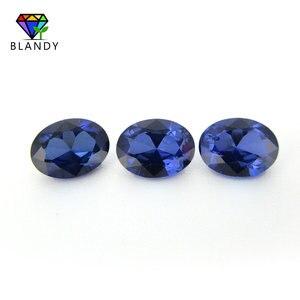 Image 3 - Groothandel Prijs 3x5mm ~ 13x18mm #34 Blauwe Stenen Ovale Vorm Briljant Geslepen Synthetische Korund Stone Gems voor Sieraden