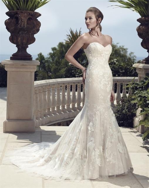Venta caliente vestido de boda tiendas sirena cariño Flores párr ...