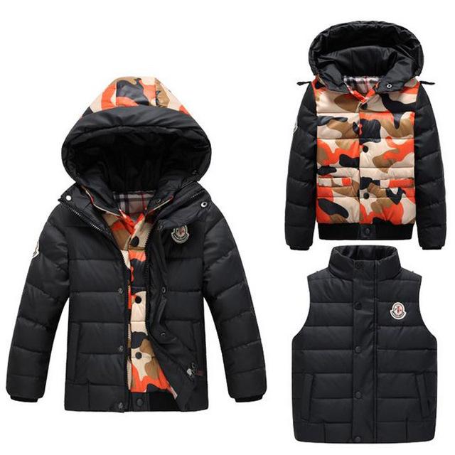 Meninos Casacos Casacos Casacos Para Crianças Meninas Crianças Inverno Casacos Roupas Grossas Definir Jiacket + Down Vest Casacos de Camuflagem Uniforme