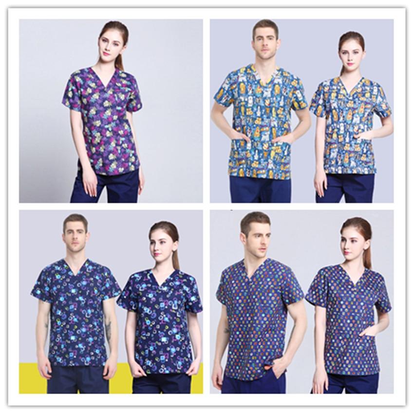 Women Men Scrub Medical Uniform Surgical Cap Lab Coat Top Nursing Healthy And Beauty Work Wear Hospital Dentist Clinic Pharmacy