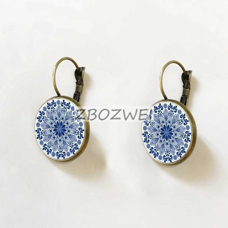 Charm azul pendientes con mandala de flores pendiente símbolo om yoga Zen cristal pendientes de cristal para joyería