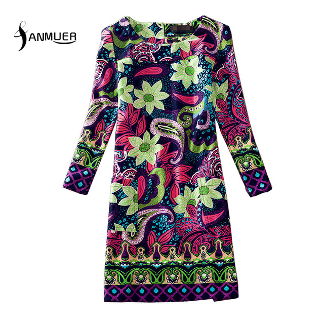 Nuevo 2016 de la vendimia vestidos de moda invierno de las mujeres print dress estilo folk dreass ocasional ml xl xxl 3xl 4xl más el tamaño de vestidos dress