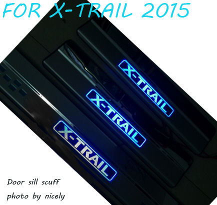Door sill scuff threshold plate Illuminate LED Car Styling Accessories Sticker for Nissan x-trail x trail rogue T32 2014 2015 fit for 2014 2015 2016 2017 nissan x trail x trail xtrail t32 door sill scuff plate welcome pedal trim car styling accessories