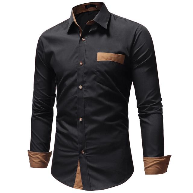 c645f75b6f9 Dropshipping Men Shirts 2018 Brand Casual Slim Long Sleeve Shirt Men  Business Social Dress Shirt Plus Size Cotton Top Clothes