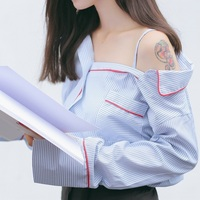 Women Blouse 2017 Fashion Sexy Long Sleeve Open Off Shoulder Striped Shirt For Girl Ladies Korean