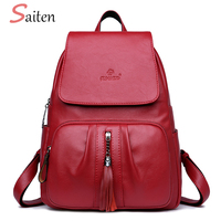 SAITEN Luxury Tassel Women S Backpacks High Quality PU Leather Backpack Female Solid School Bags For