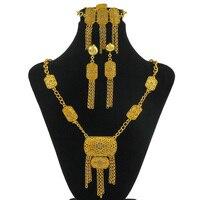 Liffly Africano Mujeres Joyas de Cristal de Diseño de la Cerradura de Oro Collares Largos Pendientes Anillos de Sistemas de La Joyería Nupcial de La Joyería Turca