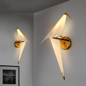 Image 2 - IKVVT LED الطيور تصميم الجدار مصباح أباجورة الإبداعية اوريغامي ورقة رافعة الجدار الخفيفة لغرفة نوم علوي دراسة بهو غرفة الطعام