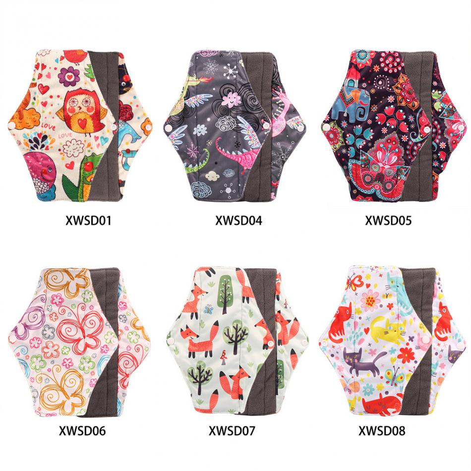 1PCs Reusable Sanitary Pad Charcoal Bamboo Cloth Menstrual Pad Sanitary Towel Washable Panty Period Menstrual Pad Size M 25*18cm 20 pieces 2packs anion sanitary pads anion sanitary napkin eliminate bacteria menstrual pads panty liner health care