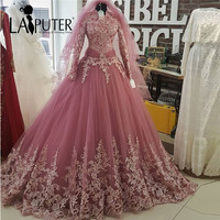 High Neck Long Sleeve Muslim Evening Dresses Ball Gown Long Lace Prom Dresses 2017 Saudi Arabia