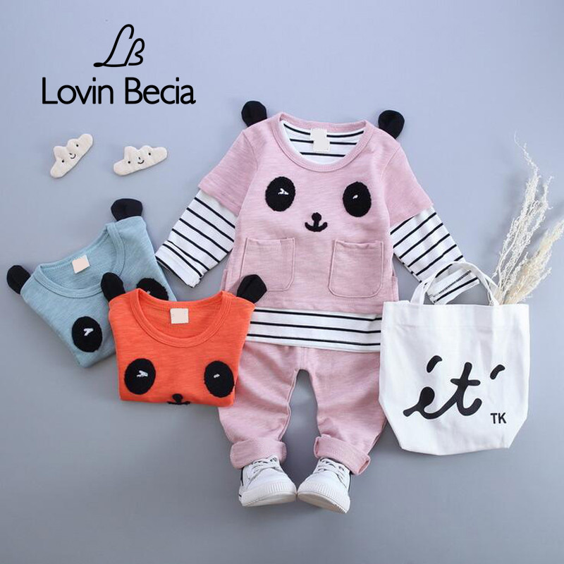 LOVIN BECIA 3pcs/ sets boutique children clothing  panda costume kids toddler girls boy baby tracksuit Clothes T-shirt pants пуховики boutique children s clothing 1305 2015