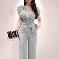 New Summer Women's Suits Fashion Split Lace up Shirt Sexy v neck Blouse Blusas Top+Wide Leg Pants Set Trouser Female 2 Piece Set