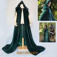 Womens velvet Cape Cloak Hooded Coat Winter Medieval Robe Costume Cloak/Festival green red hooded cloak