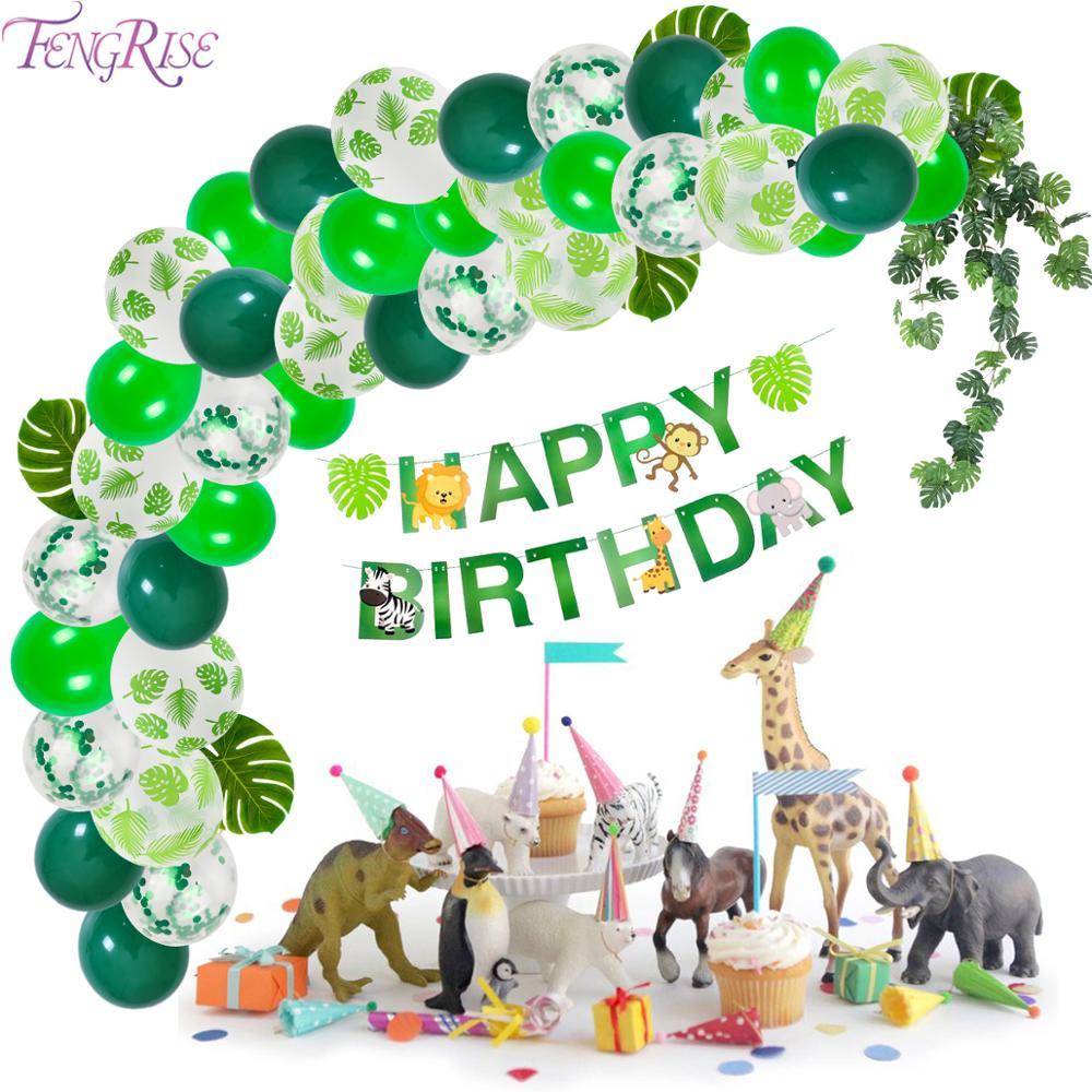 Green Balloons Palm Leaf Latex Ballon Animal Forest Birthday Balloon Safari Party Decor Jungle Balloons Animal Baloon Birthday